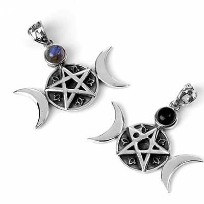 Silver and Stone Alchemist Pentagram Pendant