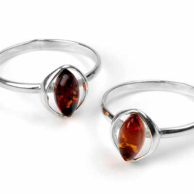 Silver and Haloed Amber Ring