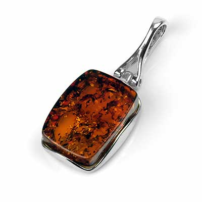 Silver and Amber Rectangle Pendant