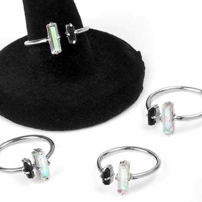 Mystic Topaz and Black Tourmaline Adjustable Ring