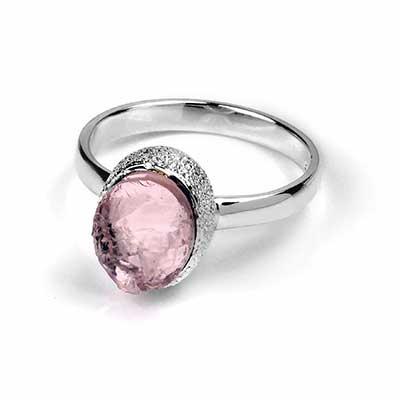 Silver and Natural Rose Quartz Ring