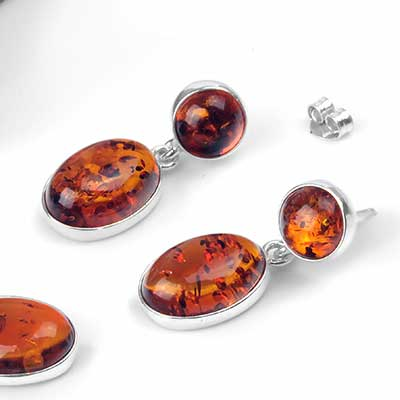 Silver and Amber Oval Drop Earrings
