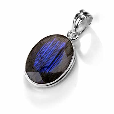 Silver and Faceted Labradorite Pendant
