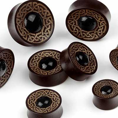 Arang and Black Obsidian Celtic Plugs