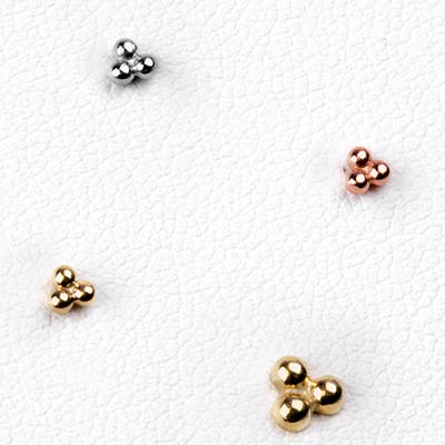 14K Gold Tri Ball Threadless End