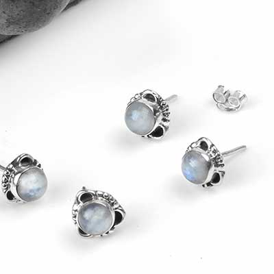 Silver Framed Rainbow Moonstone Stud Earrings