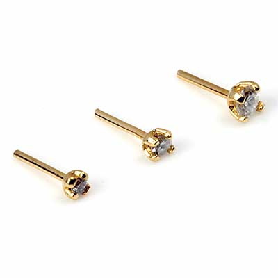 14K Gold Prong Set Diamond Threadless Ends