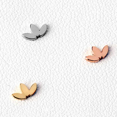 14K Gold 3 Leaf Flat Low Profile Threadless End