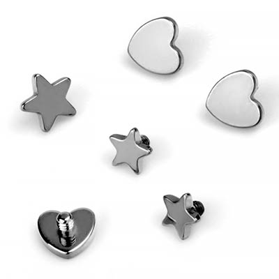 Titanium Internally Threaded Heart and Star Ends