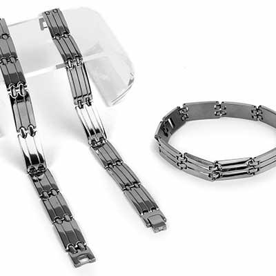 Banded Steel Watch Chain Bracelet