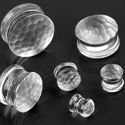 Glass Solid Color Martele Plugs (Crystal)