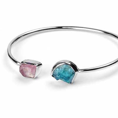 Silver and Rose Quartz and Apatite Stone Bracelet