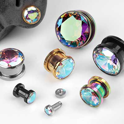 Bezel Set AB Gemmed Screw Fit Plugs