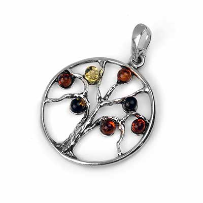 Silver and Amber Tree Pendant
