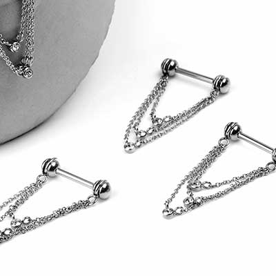 Chain Drop Nipple Dangle Barbell