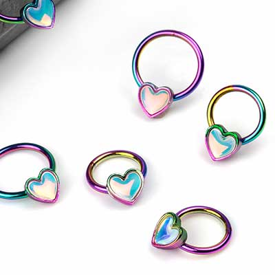 Holographic Heart Captive Ring