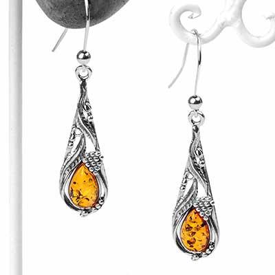 Silver and Amber Vinyard Earrings