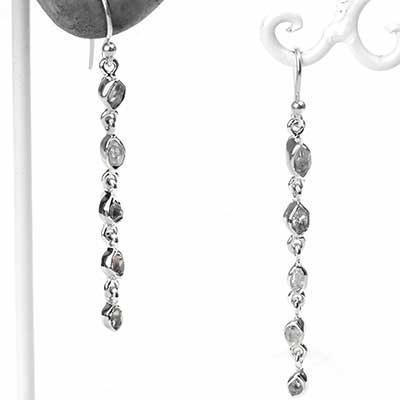 Silver and Herkimer Diamond Dangle Earrings