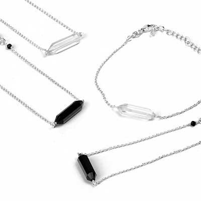 Dainty Silver and Stone Bracelet