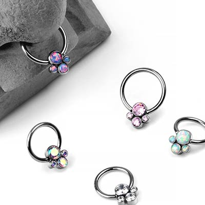 Titanium Captive Ring With Four Cluster Bead