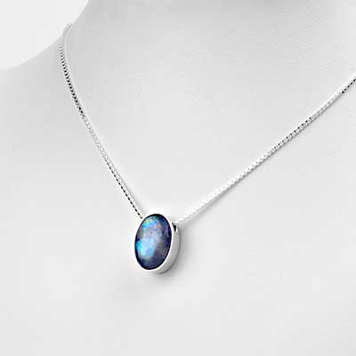 Silver and Rainbow Moonstone Necklace
