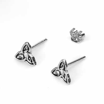 Silver Celtic Triquetra Knot Stud Earrings