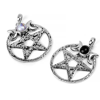 Silver and Stone Pentagram Pendant