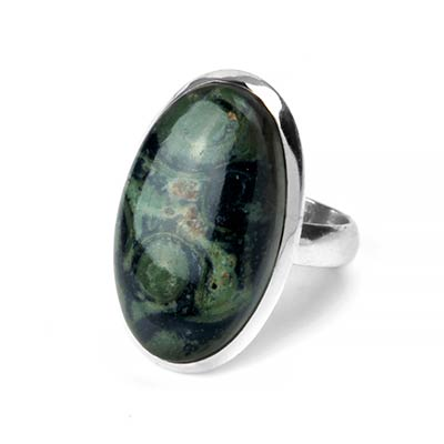 Silver and Green Eye Jasper Ring