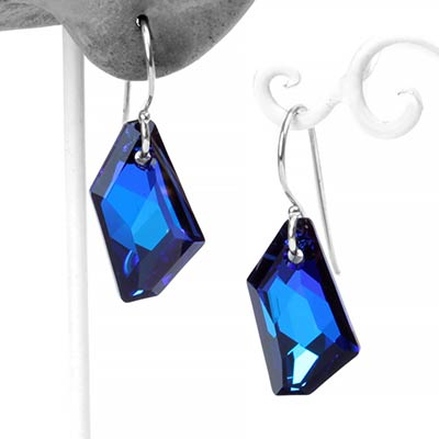Sterling Silver and Bermuda Blue Crystal Earrings