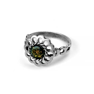 Green Amber Daisy Ring