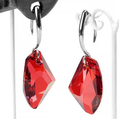 Red Swarovski Design with White Brass Hooks