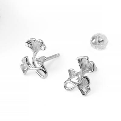 Silver Ginkgo Stud Earrings
