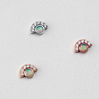 Solid 14k Gold and Opal Kahlo Threadless End