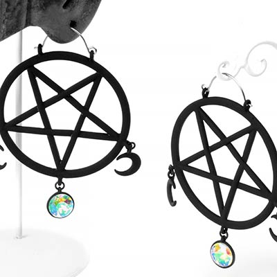 Black Pentagram Dangle Earrings