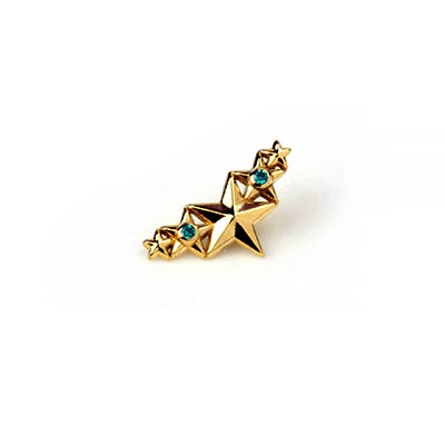 14k Gold Five Star Cluster Internally Threaded End