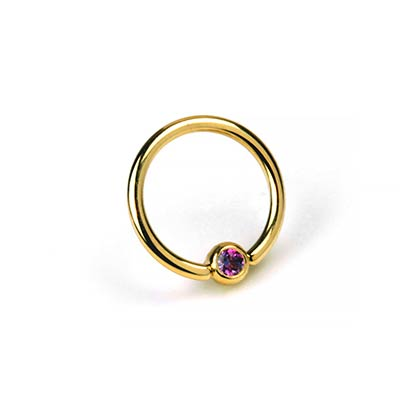 14K Gold Captive Ring with Gemmed Bead