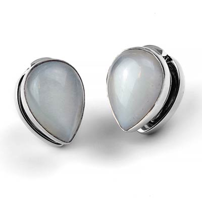 Solid White Brass Spade Weights with White Moonstone