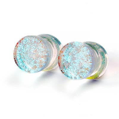 Glass Turquoise and Gold Trichroic Plugs