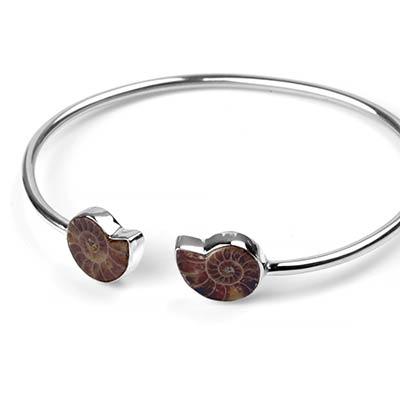 Silver and Ammonite Bracelet