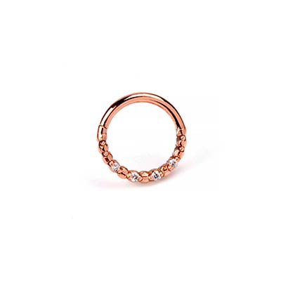 Solid 14K Rose Gold Faceted Seamless Ring with Diamond