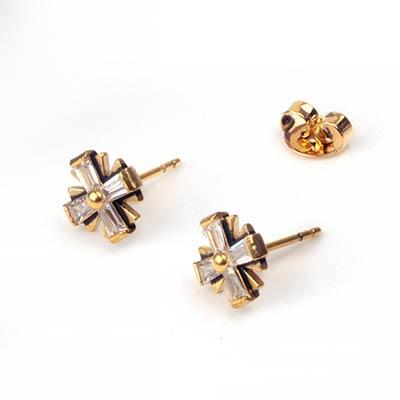 Gemmed Starburst Stud Earring