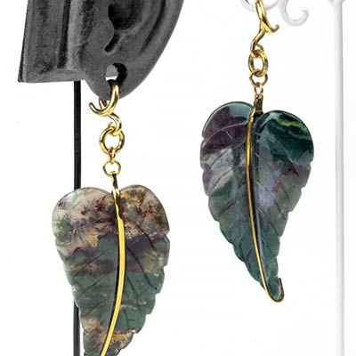 Solid Brass and Moss Agate Leaf Weights