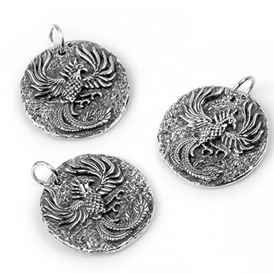Silver Phoenix Coin Pendant