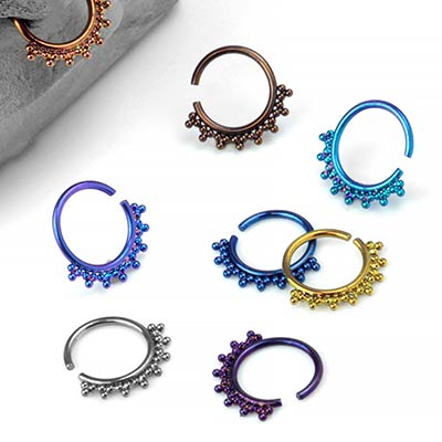 Beaded Niobium Seamless Ring