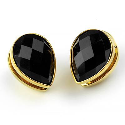 Solid Brass Spade Weights with Faceted Black Obsidian