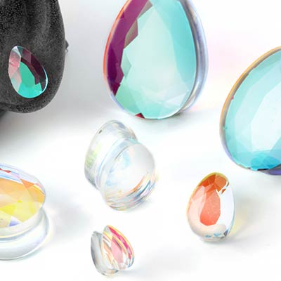 Glass Polaris Faceted Teardrop Plugs