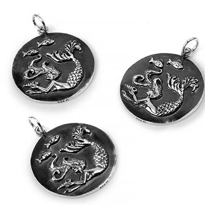 Silver Mermaid Medallion