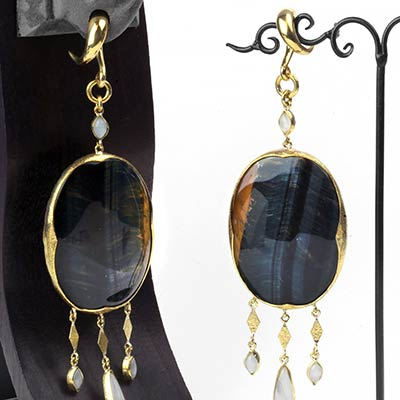 Blue Tiger Eye and Moonstone Dangle Weights