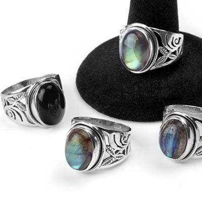 Silver and Stone Vine Rings
