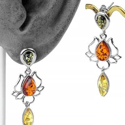 Mixed Amber Lotus Earrings